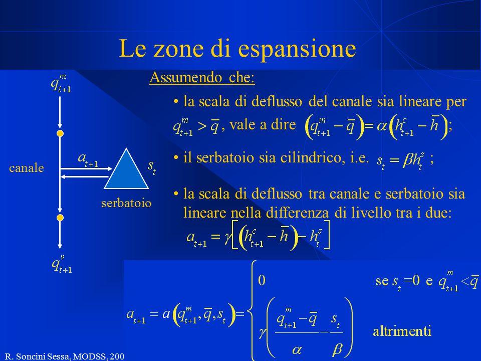 R. Soncini Sessa, MODSS, 2004 24 Le zone di espansione canale serbatoio Assumendo che: la scala di deflusso del canale sia lineare per, vale a dire ;