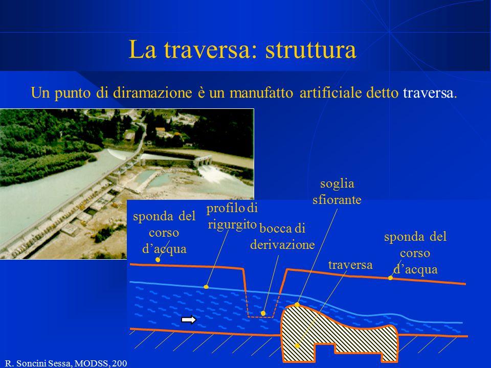 R. Soncini Sessa, MODSS, 2004 29 La traversa: struttura Un punto di diramazione è un manufatto artificiale detto traversa. profilo di rigurgito soglia