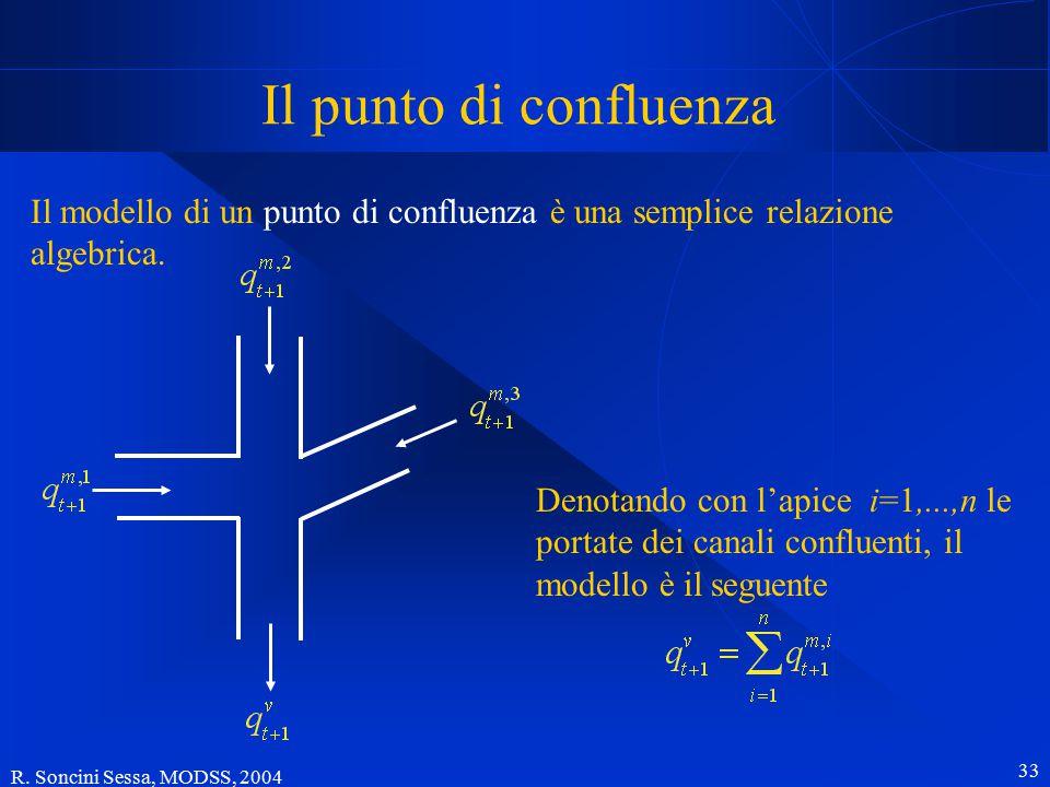 R. Soncini Sessa, MODSS, 2004 33 Il punto di confluenza Il modello di un punto di confluenza è una semplice relazione algebrica. Denotando con l'apice