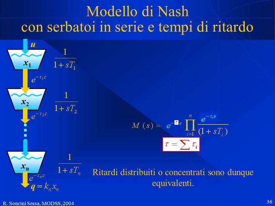 R. Soncini Sessa, MODSS, 2004 36 Modello di Nash con serbatoi in serie e tempi di ritardo x1x1 x2x2 xnxn u q Ritardi distribuiti o concentrati sono du