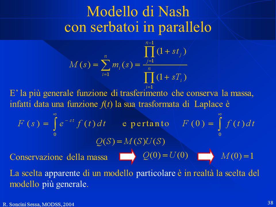 R. Soncini Sessa, MODSS, 2004 38 Modello di Nash con serbatoi in parallelo E' la più generale funzione di trasferimento che conserva la massa, infatti