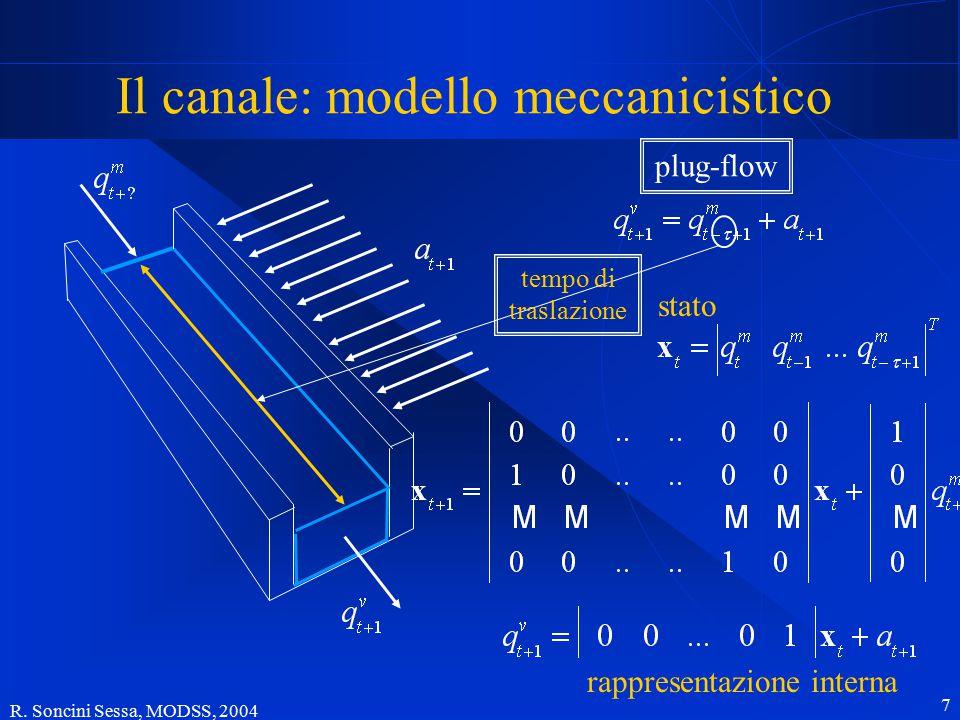 R. Soncini Sessa, MODSS, 2004 7 Il canale: modello meccanicistico tempo di traslazione stato rappresentazione interna plug-flow