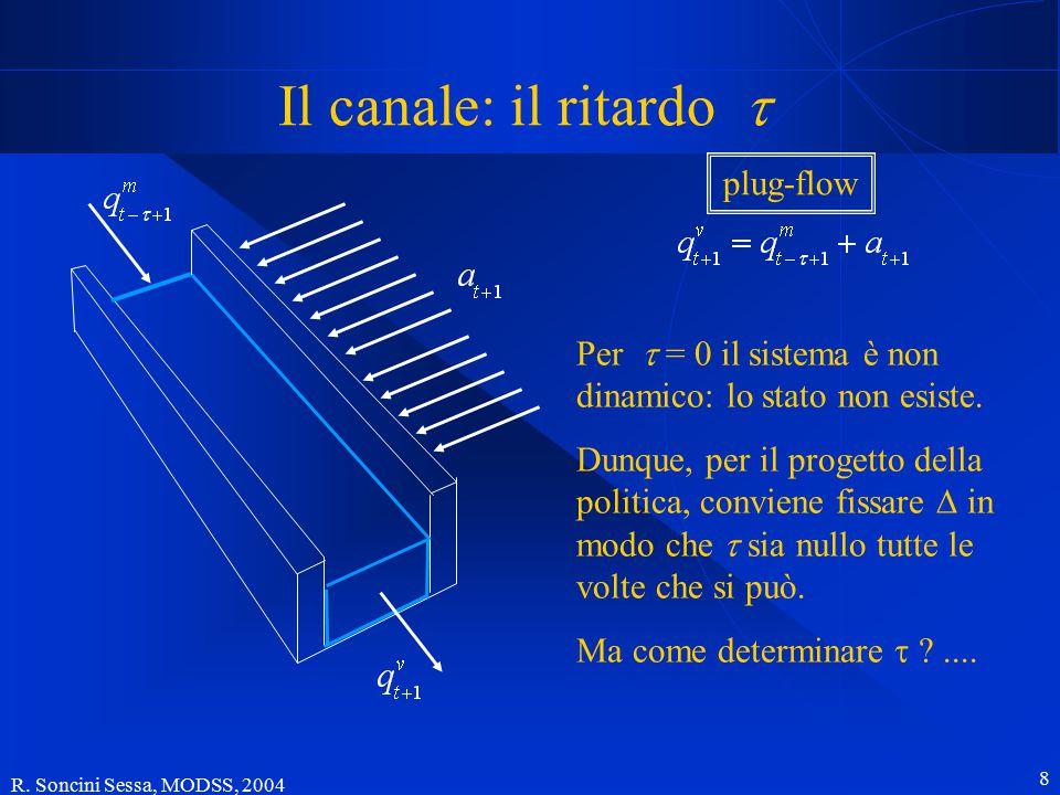 R. Soncini Sessa, MODSS, 2004 8 Il canale: il ritardo  Per  = 0 il sistema è non dinamico: lo stato non esiste. Dunque, per il progetto della polit