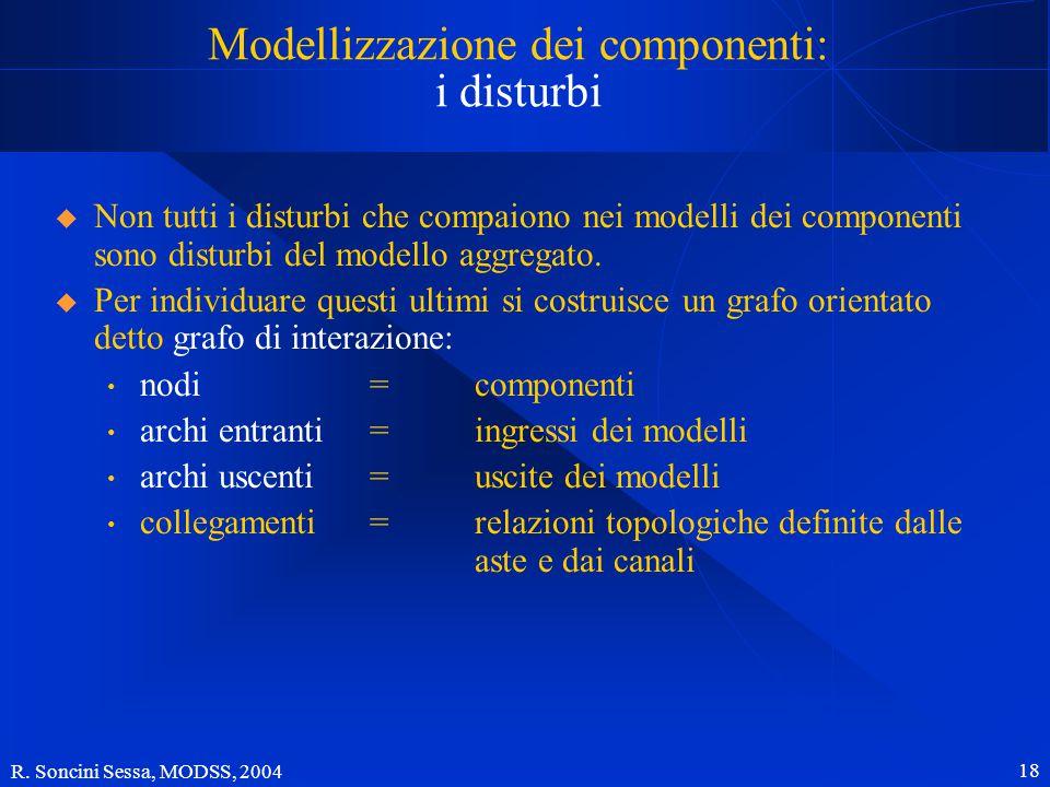 R. Soncini Sessa, MODSS, 2004 18 Modellizzazione dei componenti: i disturbi  Non tutti i disturbi che compaiono nei modelli dei componenti sono distu