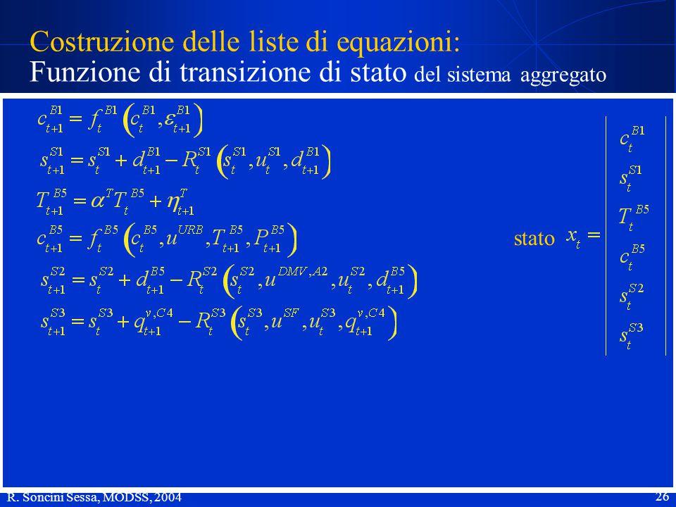 R. Soncini Sessa, MODSS, 2004 26 Costruzione delle liste di equazioni: Funzione di transizione di stato del sistema aggregato stato