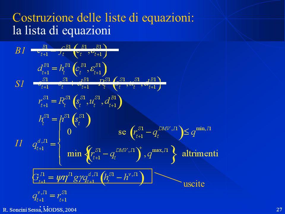 R. Soncini Sessa, MODSS, 2004 27 Costruzione delle liste di equazioni: la lista di equazioni B1 S1 I1 … uscite