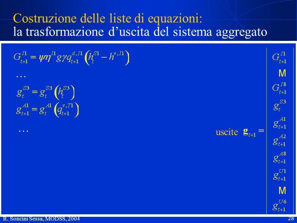 R. Soncini Sessa, MODSS, 2004 28 Costruzione delle liste di equazioni: la trasformazione d'uscita del sistema aggregato uscite … …