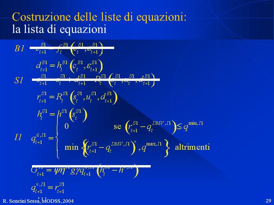 R. Soncini Sessa, MODSS, 2004 29 Costruzione delle liste di equazioni: la lista di equazioni B1 S1 I1 …