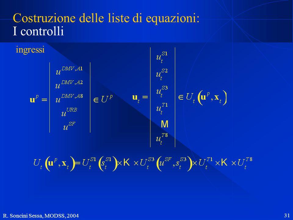 R. Soncini Sessa, MODSS, 2004 31 Costruzione delle liste di equazioni: I controlli ingressi