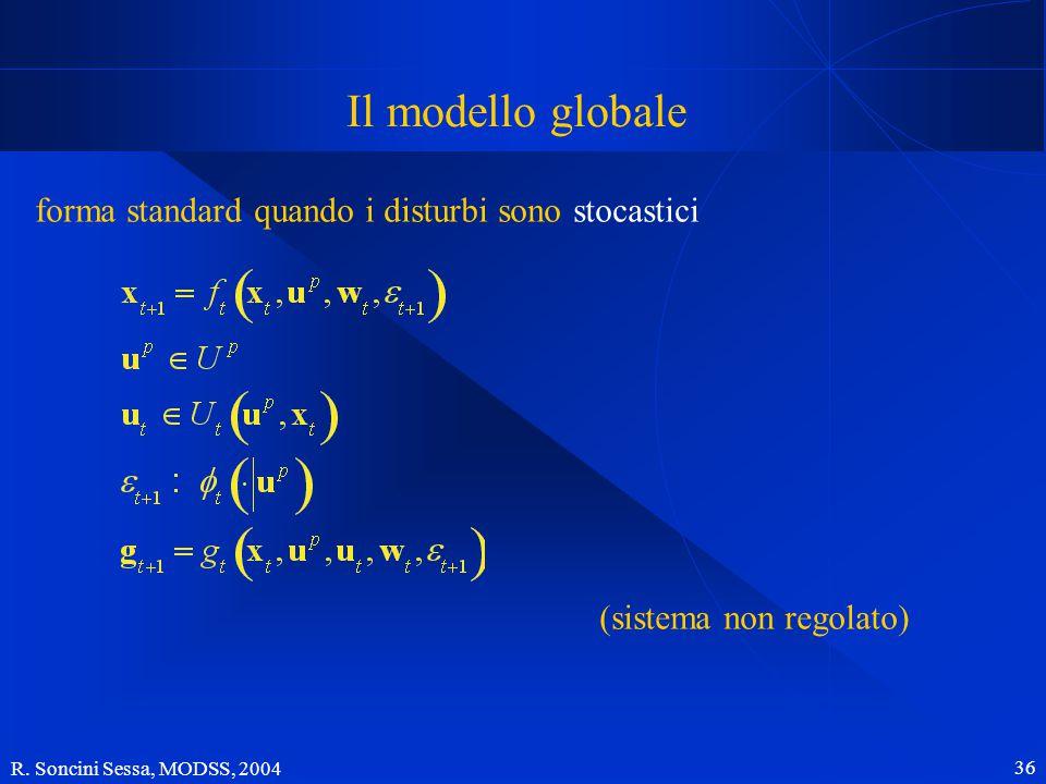 R. Soncini Sessa, MODSS, 2004 36 Il modello globale forma standard quando i disturbi sono stocastici (sistema non regolato)