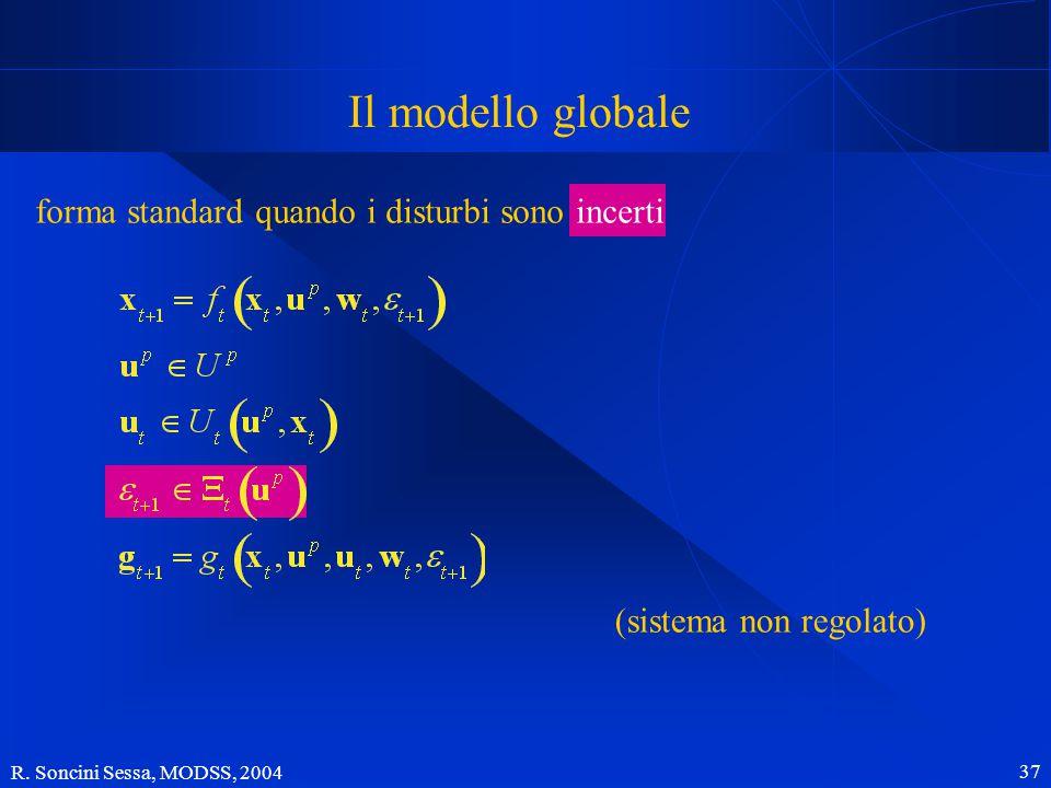 R. Soncini Sessa, MODSS, 2004 37 Il modello globale forma standard quando i disturbi sono incerti (sistema non regolato)