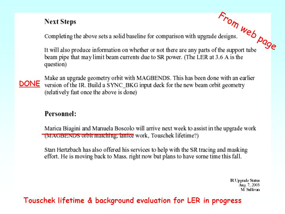 DONE Touschek lifetime & background evaluation for LER in progress From web page