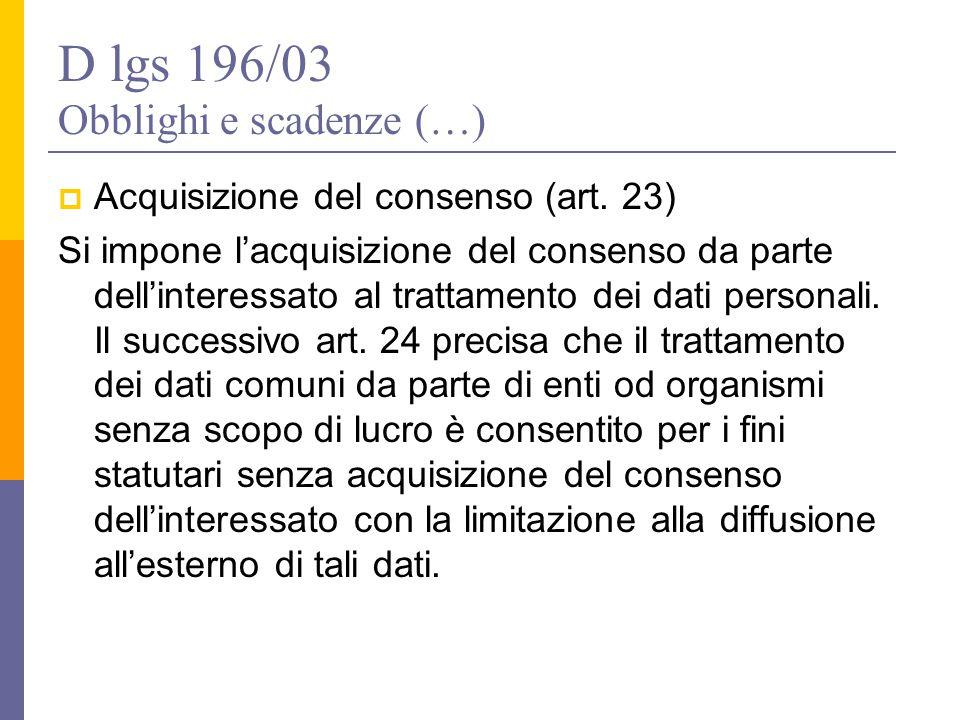 D lgs 196/03 Obblighi e scadenze (…)  Acquisizione del consenso (art. 23) Si impone l'acquisizione del consenso da parte dell'interessato al trattame