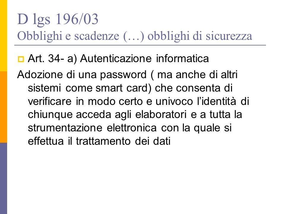 D lgs 196/03 Obblighi e scadenze (…) obblighi di sicurezza  Art. 34- a) Autenticazione informatica Adozione di una password ( ma anche di altri siste