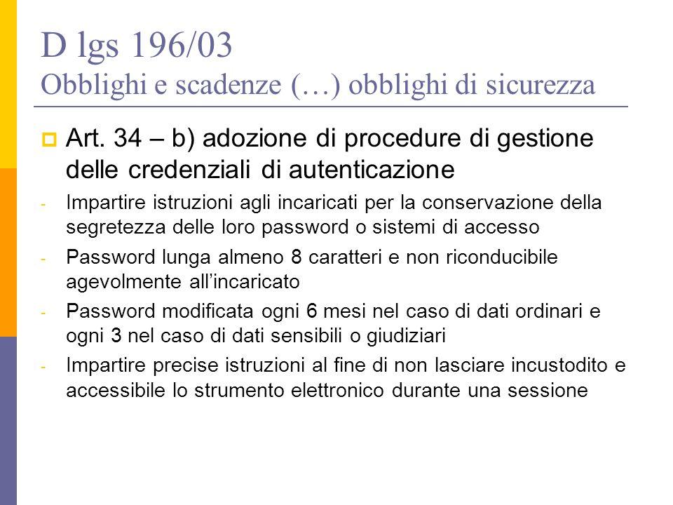 D lgs 196/03 Obblighi e scadenze (…) obblighi di sicurezza  Art. 34 – b) adozione di procedure di gestione delle credenziali di autenticazione - Impa