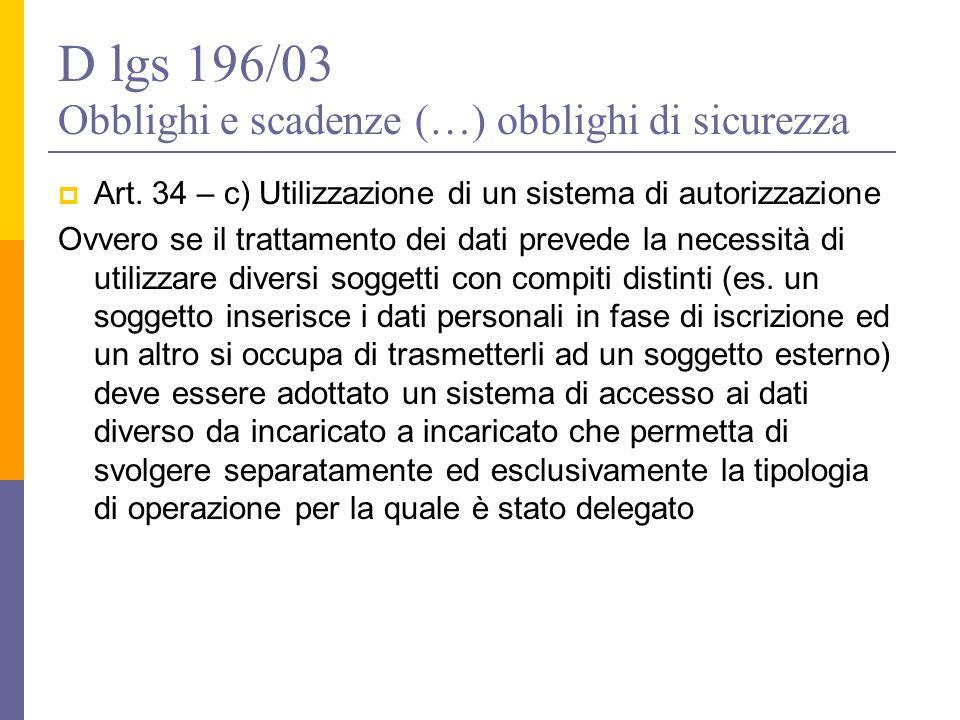 D lgs 196/03 Obblighi e scadenze (…) obblighi di sicurezza  Art. 34 – c) Utilizzazione di un sistema di autorizzazione Ovvero se il trattamento dei d