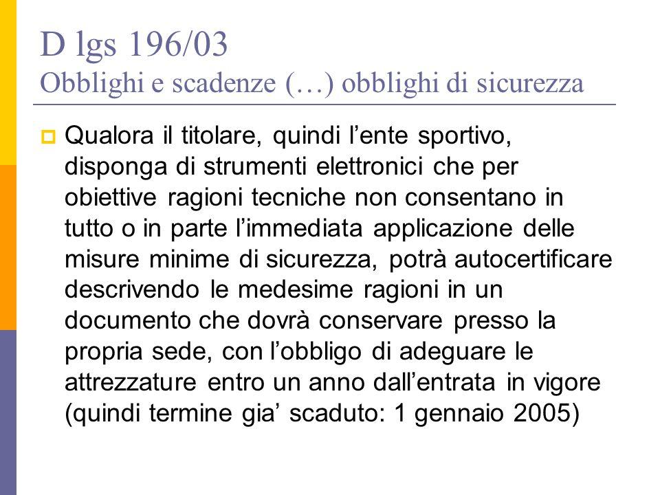 D lgs 196/03 Obblighi e scadenze (…) obblighi di sicurezza  Qualora il titolare, quindi l'ente sportivo, disponga di strumenti elettronici che per ob