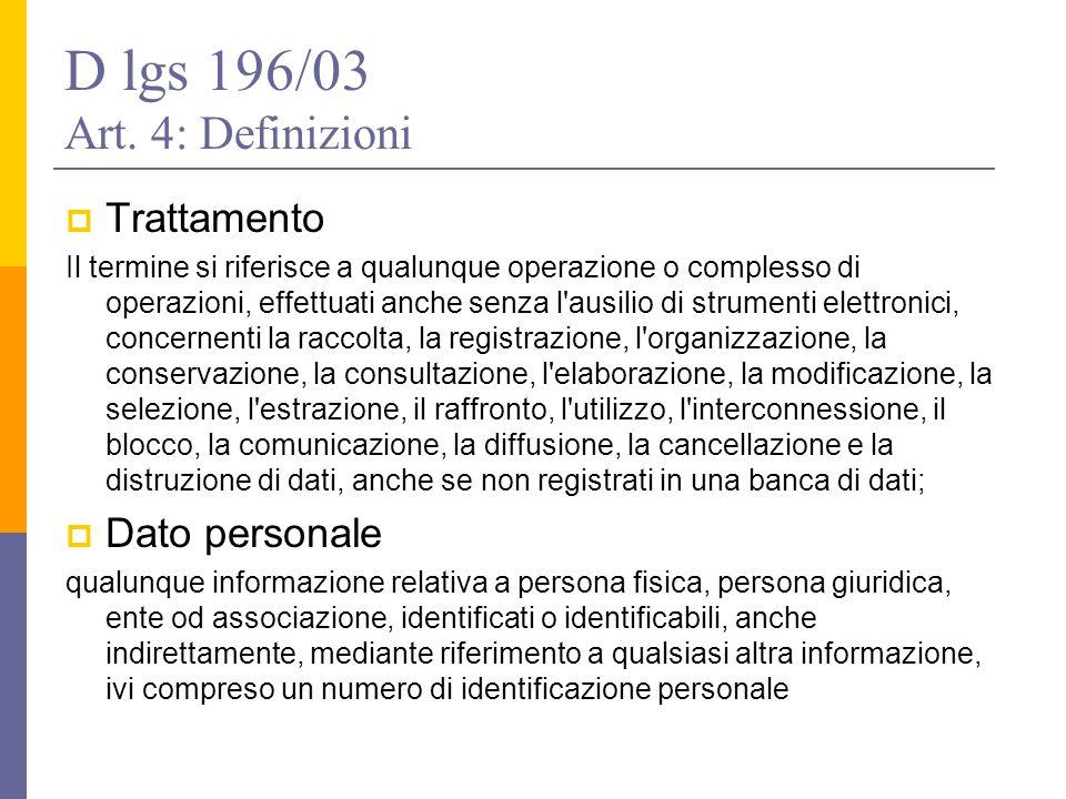 D lgs 196/03 Art. 4: Definizioni  Trattamento Il termine si riferisce a qualunque operazione o complesso di operazioni, effettuati anche senza l'ausi