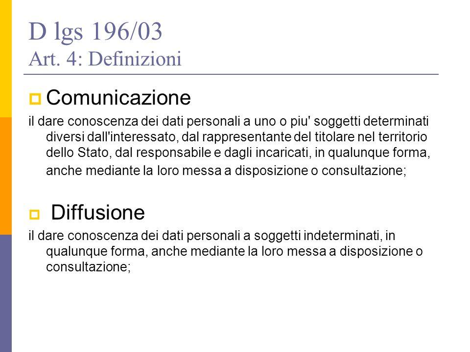 D lgs 196/03 Art. 4: Definizioni  Comunicazione il dare conoscenza dei dati personali a uno o piu' soggetti determinati diversi dall'interessato, dal
