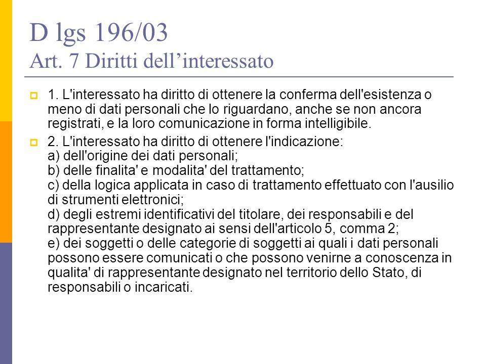 D lgs 196/03 Art. 7 Diritti dell'interessato  1. L'interessato ha diritto di ottenere la conferma dell'esistenza o meno di dati personali che lo rigu