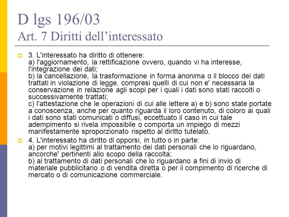 D lgs 196/03 Art. 7 Diritti dell'interessato  3. L'interessato ha diritto di ottenere: a) l'aggiornamento, la rettificazione ovvero, quando vi ha int