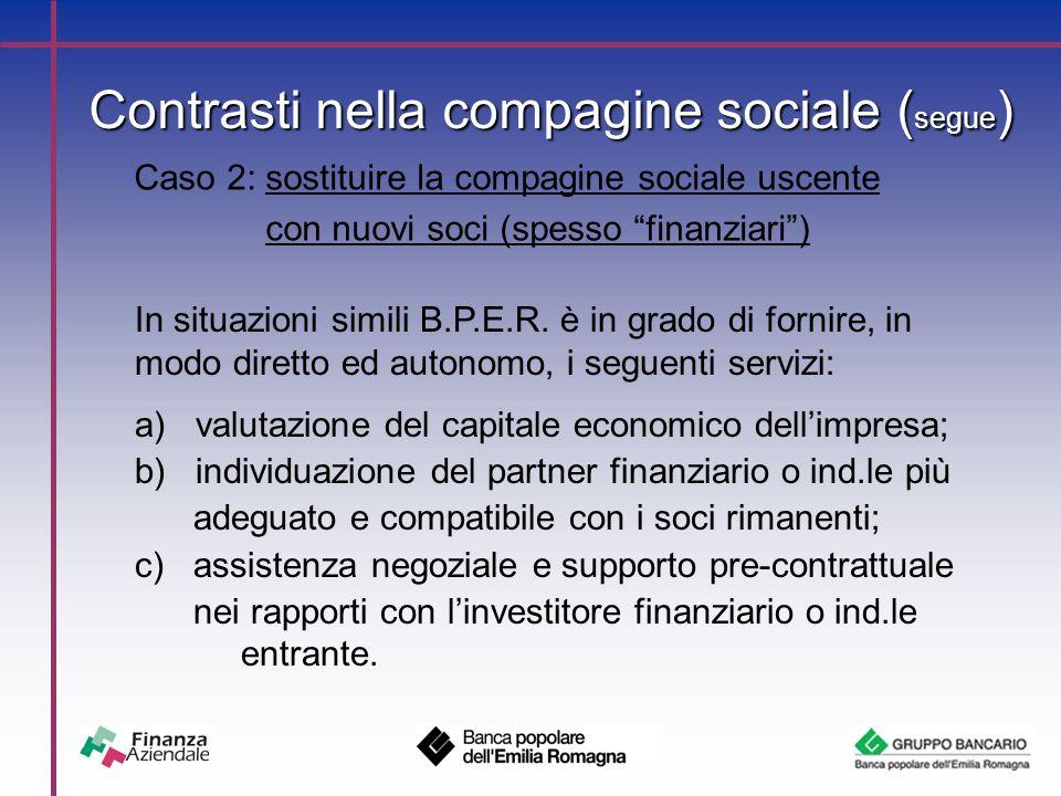 Contrasti nella compagine sociale ( segue ) Caso 2: sostituire la compagine sociale uscente con nuovi soci (spesso finanziari ) In situazioni simili B.P.E.R.