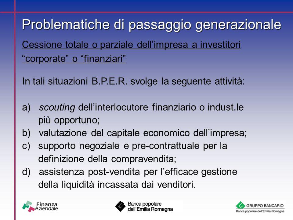 Problematiche di passaggio generazionale Cessione totale o parziale dell'impresa a investitori corporate o finanziari In tali situazioni B.P.E.R.