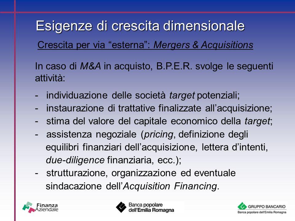Esigenze di crescita dimensionale Crescita per via esterna : Mergers & Acquisitions In caso di M&A in acquisto, B.P.E.R.