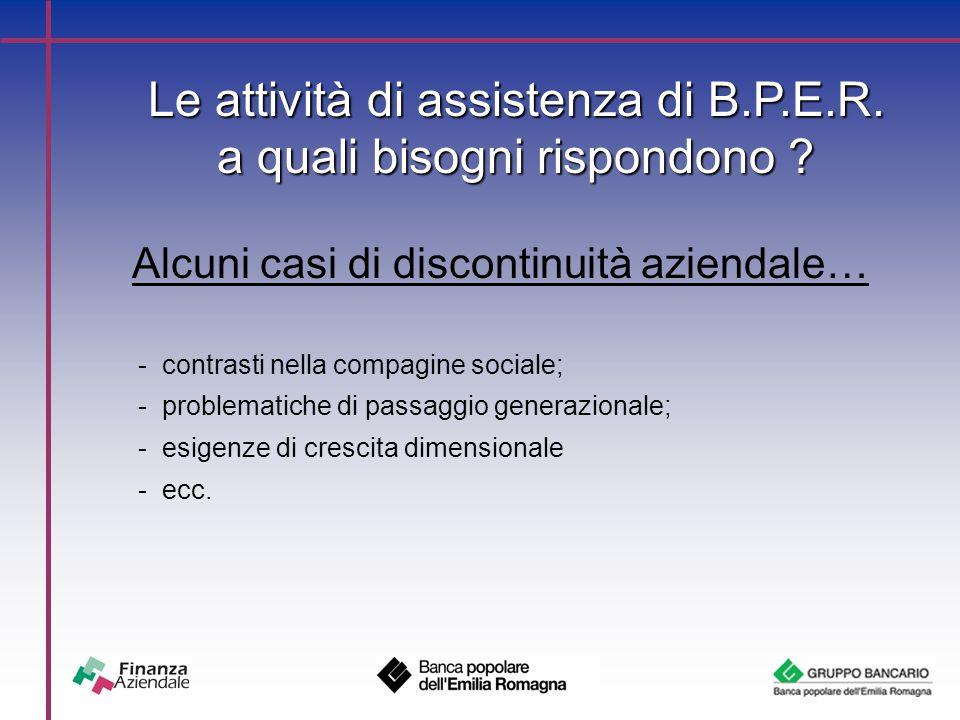 Le attività di assistenza di B.P.E.R. a quali bisogni rispondono .