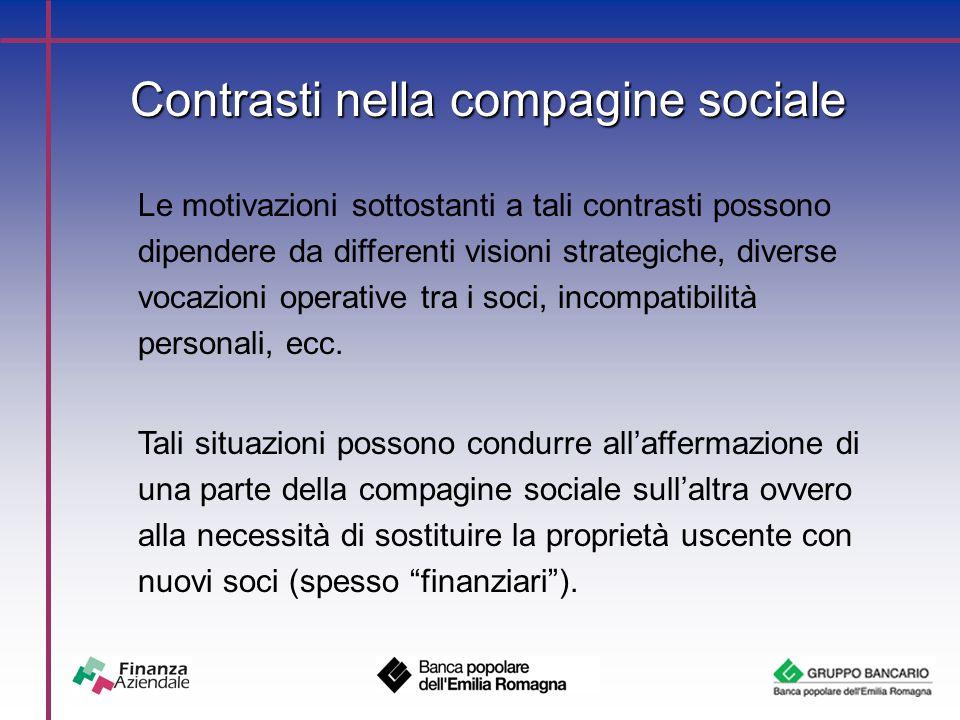 Contrasti nella compagine sociale Le motivazioni sottostanti a tali contrasti possono dipendere da differenti visioni strategiche, diverse vocazioni operative tra i soci, incompatibilità personali, ecc.