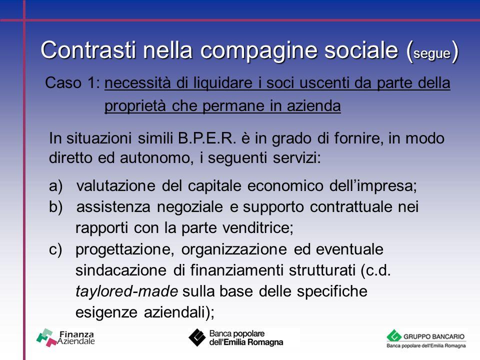 Contrasti nella compagine sociale ( segue ) Caso 1: necessità di liquidare i soci uscenti da parte della proprietà che permane in azienda In situazioni simili B.P.E.R.