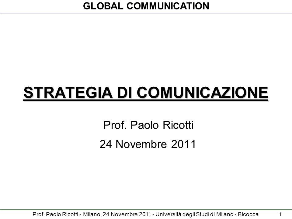 GLOBAL COMMUNICATION Prof. Paolo Ricotti - Milano, 24 Novembre 2011 - Università degli Studi di Milano - Bicocca STRATEGIA DI COMUNICAZIONE Prof. Paol