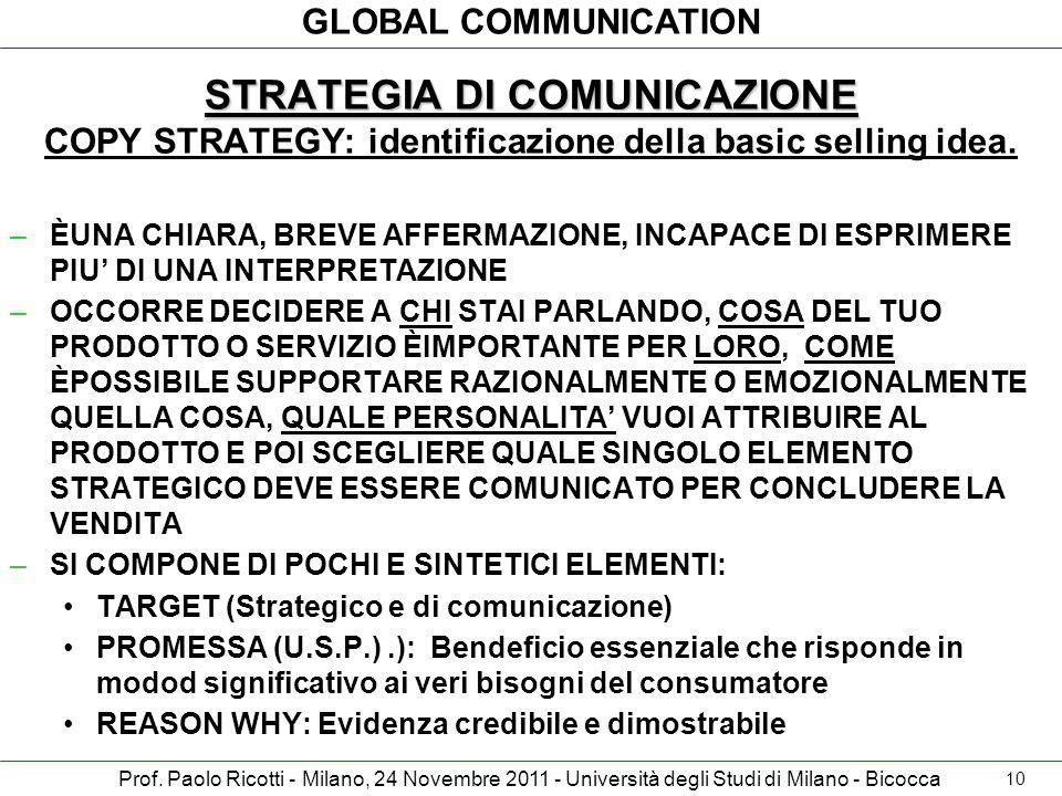GLOBAL COMMUNICATION Prof. Paolo Ricotti - Milano, 24 Novembre 2011 - Università degli Studi di Milano - Bicocca STRATEGIA DI COMUNICAZIONE STRATEGIA