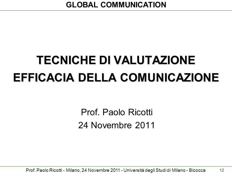 GLOBAL COMMUNICATION Prof. Paolo Ricotti - Milano, 24 Novembre 2011 - Università degli Studi di Milano - Bicocca TECNICHE DI VALUTAZIONE EFFICACIA DEL