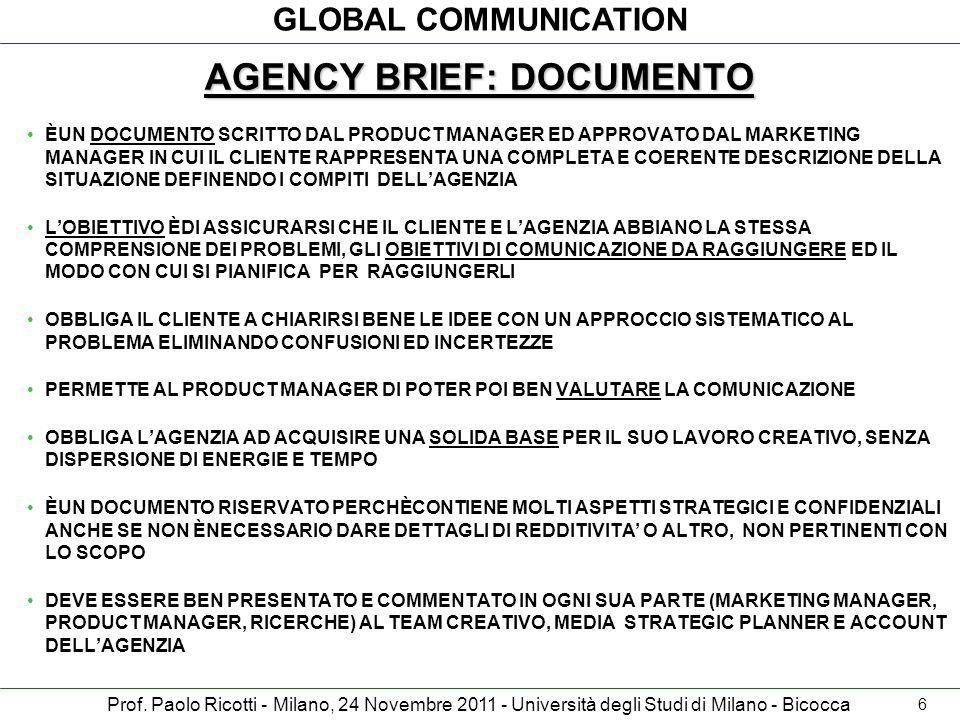 GLOBAL COMMUNICATION Prof. Paolo Ricotti - Milano, 24 Novembre 2011 - Università degli Studi di Milano - Bicocca AGENCY BRIEF: DOCUMENTO ÈUN DOCUMENTO