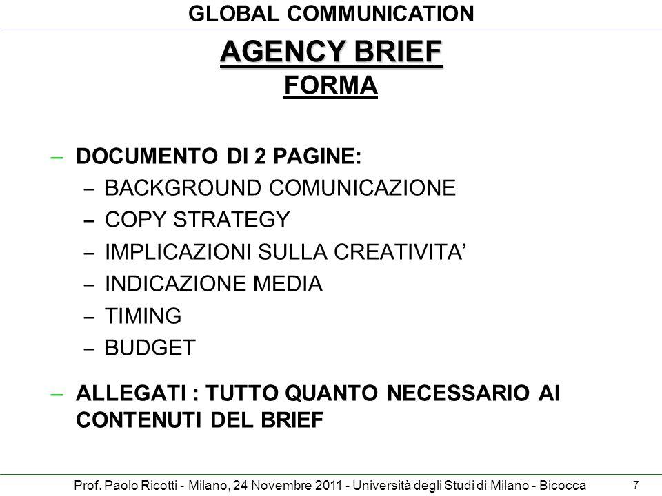 GLOBAL COMMUNICATION Prof. Paolo Ricotti - Milano, 24 Novembre 2011 - Università degli Studi di Milano - Bicocca –DOCUMENTO DI 2 PAGINE: – BACKGROUND
