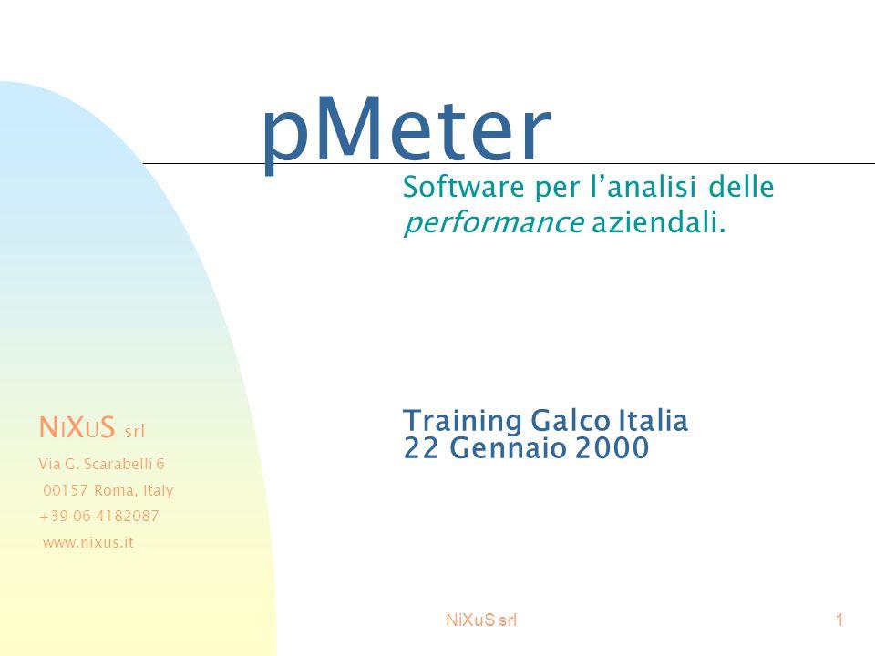 NiXuS srl1 Training Galco Italia 22 Gennaio 2000 pMeter Software per l'analisi delle performance aziendali. N I X U S srl Via G. Scarabelli 6 00157 Ro