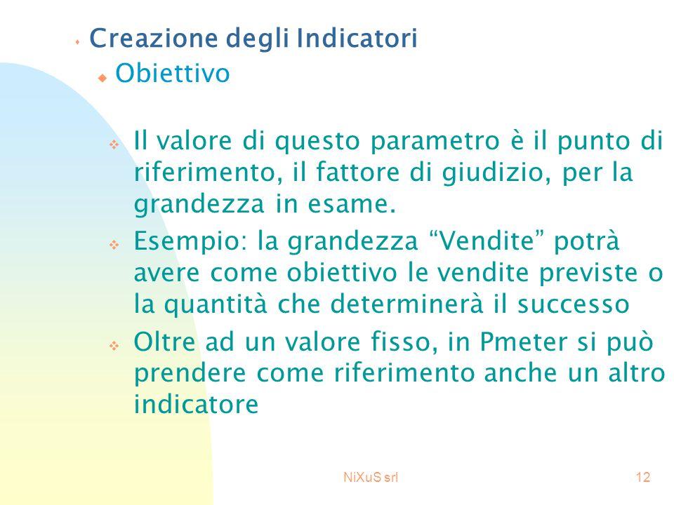 NiXuS srl12 s Creazione degli Indicatori v Il valore di questo parametro è il punto di riferimento, il fattore di giudizio, per la grandezza in esame.