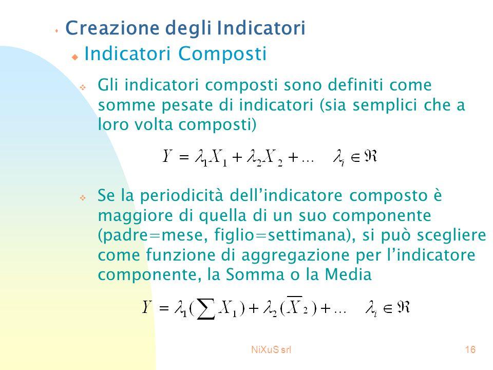 NiXuS srl16 s Creazione degli Indicatori v Gli indicatori composti sono definiti come somme pesate di indicatori (sia semplici che a loro volta compos