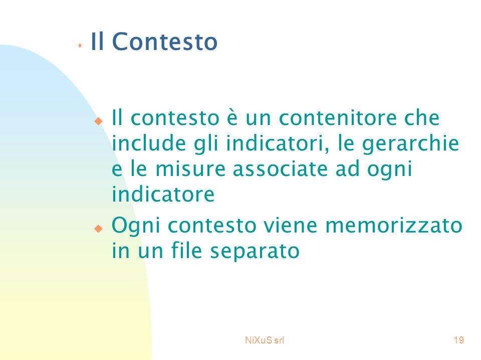 NiXuS srl19 s Il Contesto u Il contesto è un contenitore che include gli indicatori, le gerarchie e le misure associate ad ogni indicatore u Ogni contesto viene memorizzato in un file separato