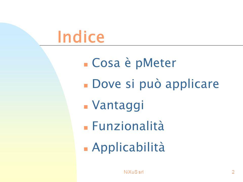 NiXuS srl2 n Cosa è pMeter n Dove si può applicare n Vantaggi n Funzionalità n Applicabilità Indice