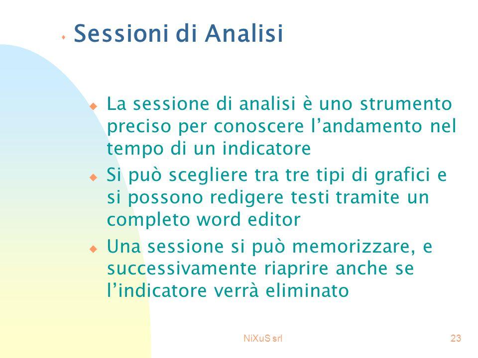 NiXuS srl23 s Sessioni di Analisi u La sessione di analisi è uno strumento preciso per conoscere l'andamento nel tempo di un indicatore u Si può scegl