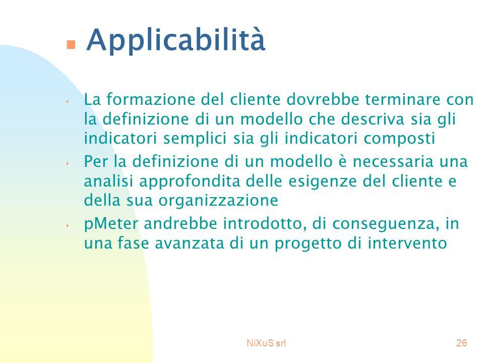 NiXuS srl26 n Applicabilità s La formazione del cliente dovrebbe terminare con la definizione di un modello che descriva sia gli indicatori semplici s