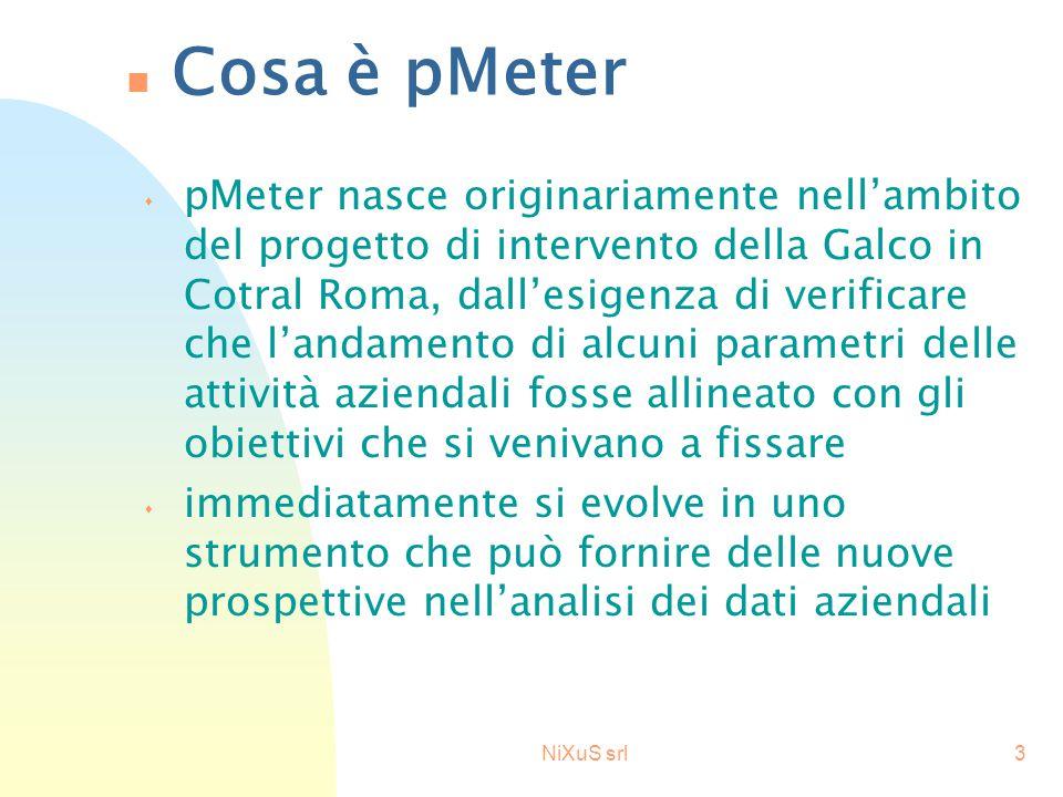 NiXuS srl3 n Cosa è pMeter s pMeter nasce originariamente nell'ambito del progetto di intervento della Galco in Cotral Roma, dall'esigenza di verificare che l'andamento di alcuni parametri delle attività aziendali fosse allineato con gli obiettivi che si venivano a fissare s immediatamente si evolve in uno strumento che può fornire delle nuove prospettive nell'analisi dei dati aziendali