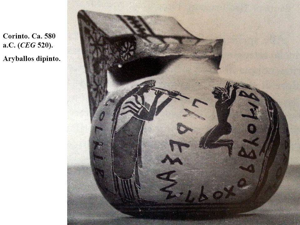 Corinto. Ca. 580 a.C. (CEG 520). Aryballos dipinto.