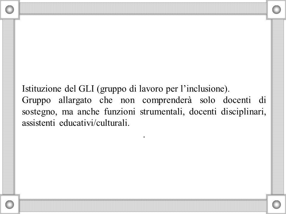 Istituzione del GLI (gruppo di lavoro per l'inclusione).