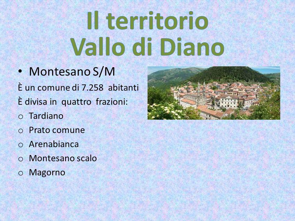 Montesano S/M È un comune di 7.258 abitanti È divisa in quattro frazioni: o Tardiano o Prato comune o Arenabianca o Montesano scalo o Magorno