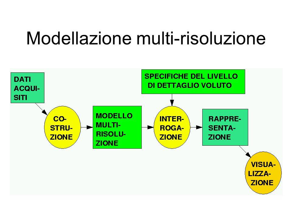 Modello multi-risoluzione generale Strutture dati 2D e 3D Algoritmi di costruzione 2D e 3D Algoritmo di interrogazione generale Criteri di interrogazione 2D e 3D