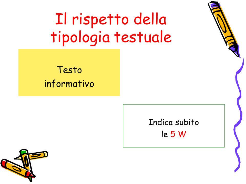Il rispetto della tipologia testuale Testo informativo Indica subito le 5 W