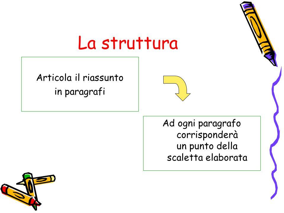 La struttura Articola il riassunto in paragrafi Ad ogni paragrafo corrisponderà un punto della scaletta elaborata